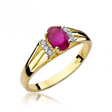 Złoty pierścionek z diamentem EY-5 rubin