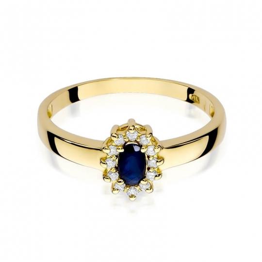 Złoty pierścionek z diamentem EY-26 szafir