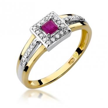 Złoty pierścionek z diamentem EY-271 rubin