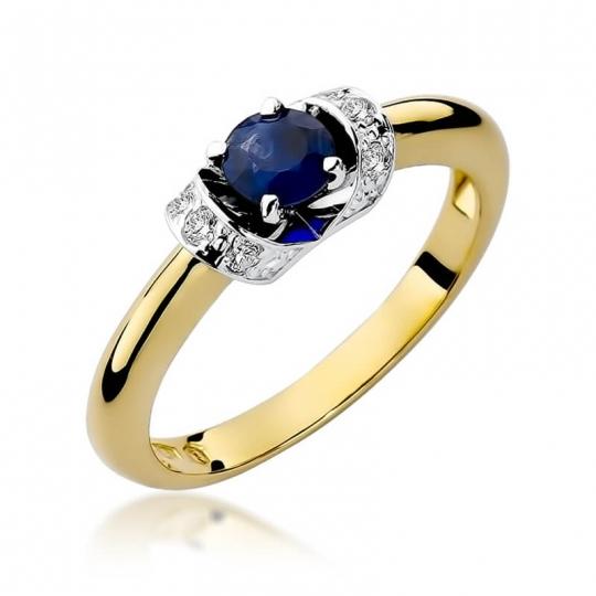 Złoty pierścionek z diamentem EY-43 szafir