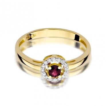 Złoty pierścionek z diamentem EY-238 rubin