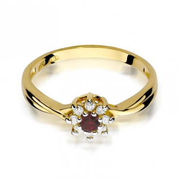 Złoty pierścionek z diamentem EY-72 rubin