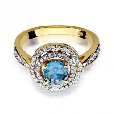 Złoty pierścionek z diamentem EY-274 topaz