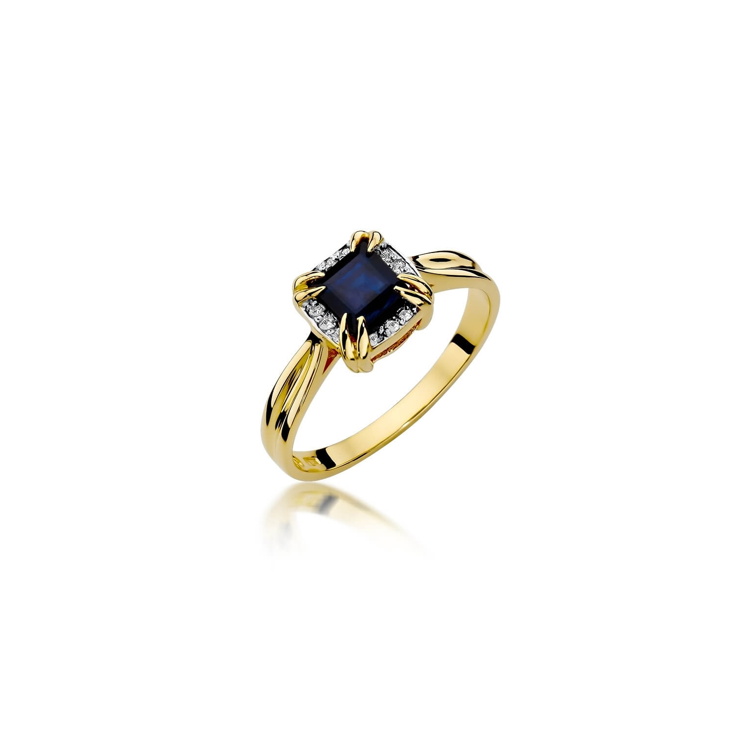 Złoty pierścionek z diamentem EY-358 szafir