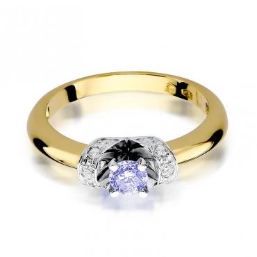 Złoty pierścionek z diamentem EY-43 tanzanit