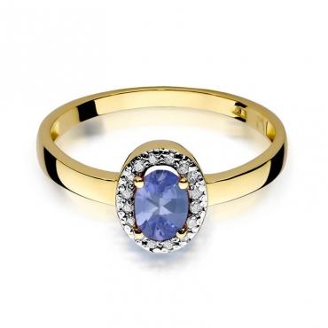 Złoty pierścionek z diamentem EY-330 tanzanit