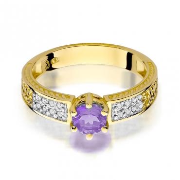 Złoty pierścionek z diamentem EY-75 ametyst