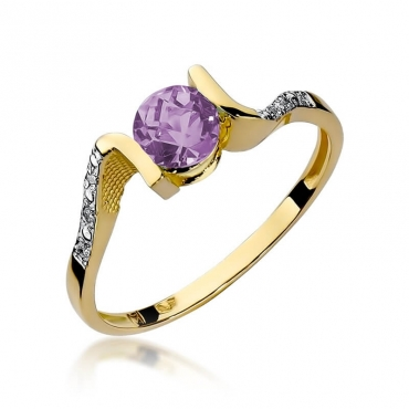 Złoty pierścionek z diamentem EY-120 ametyst