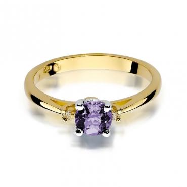 Złoty pierścionek z diamentem EY-17 ametyst