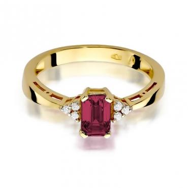 Złoty pierścionek z diamentem EY-2 rubin