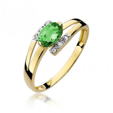 Złoty pierścionek z diamentem EY-119 szmaragd