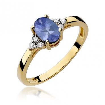 Złoty pierścionek z diamentem EY-308 tanzanit