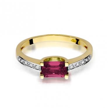 Złoty pierścionek z diamentem EY-105 rubin