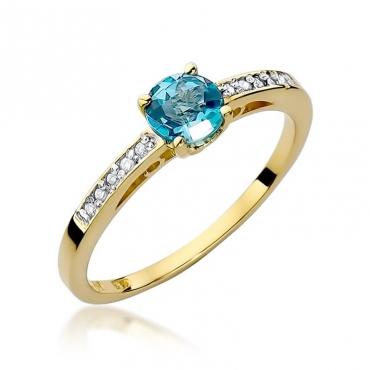 Złoty pierścionek z diamentem EY-66 topaz