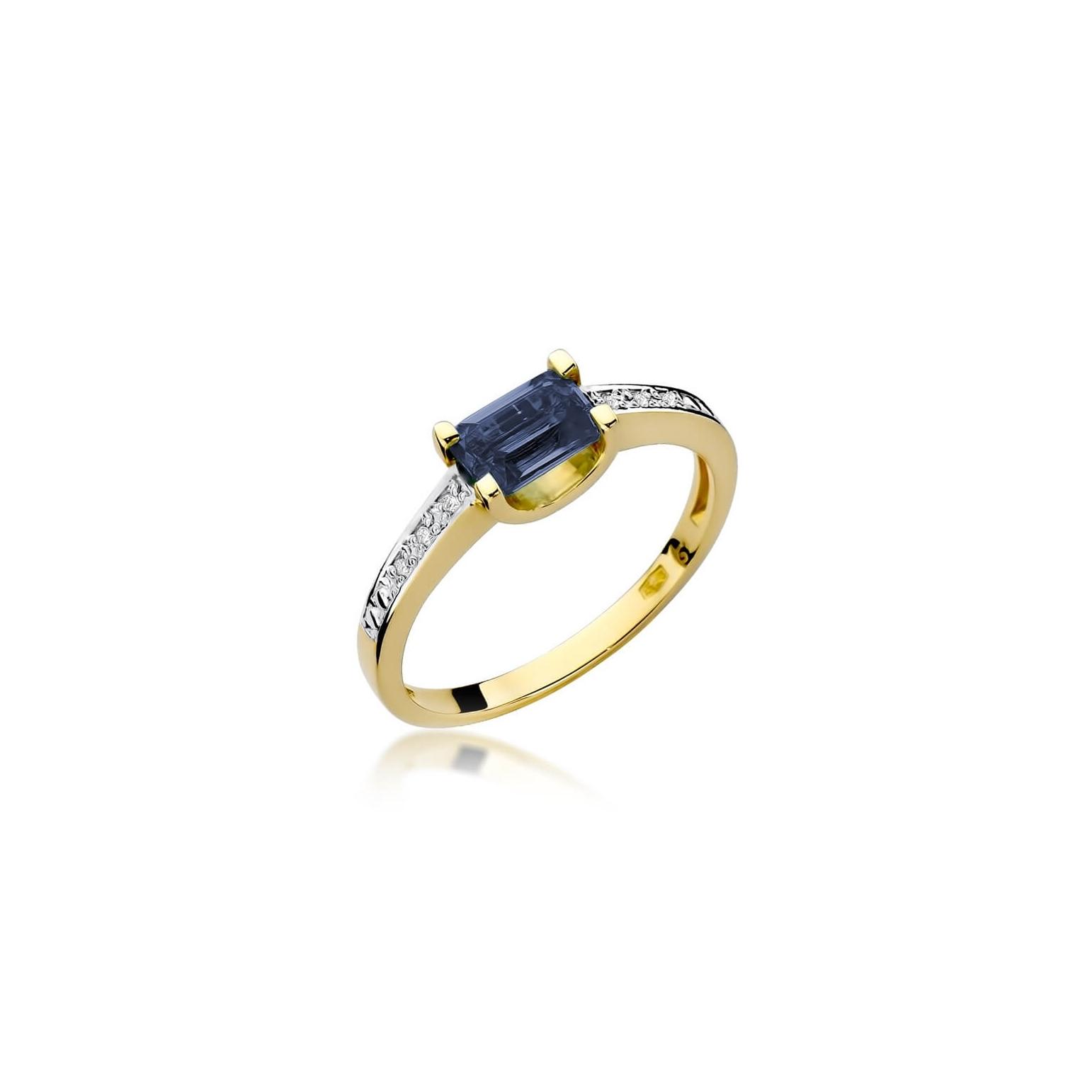 Złoty pierścionek z diamentem EY-105 szafir
