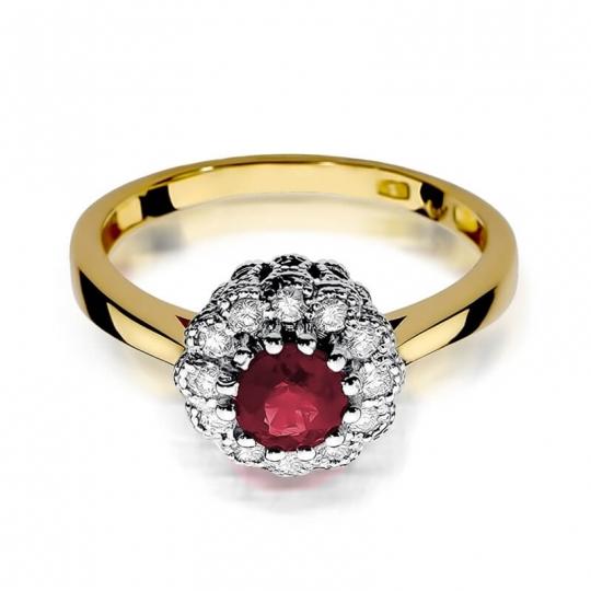 Złoty pierścionek z diamentem EY-284 rubin
