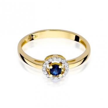 Złoty pierścionek z diamentem EY-238 szafir