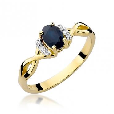 Złoty pierścionek z diamentem EY-19 szafir