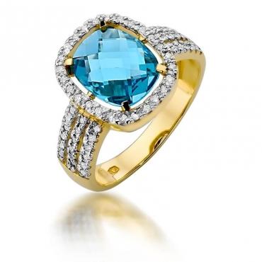 Złoty pierścionek z diamentem EY-313 topaz
