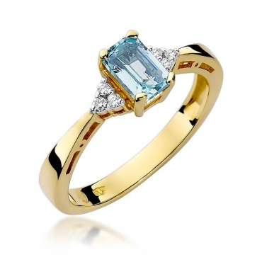 Złoty pierścionek z diamentem EY-2 topaz