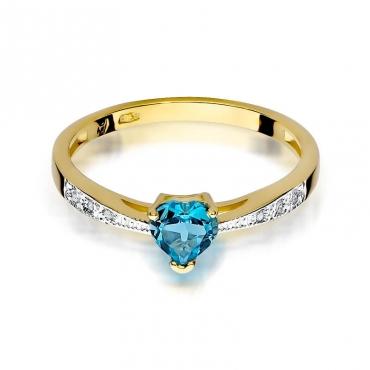 Złoty pierścionek z diamentem EY-65 topaz