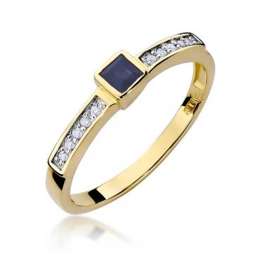 Złoty pierścionek z diamentem EY-327 szafir