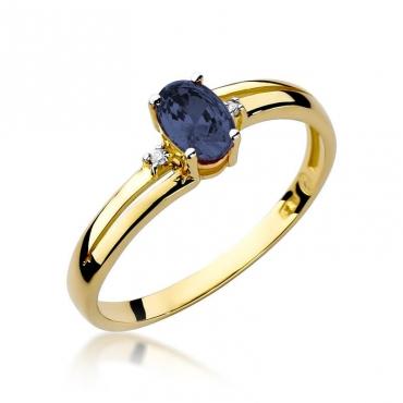 Złoty pierścionek z diamentem EY-68 szafir