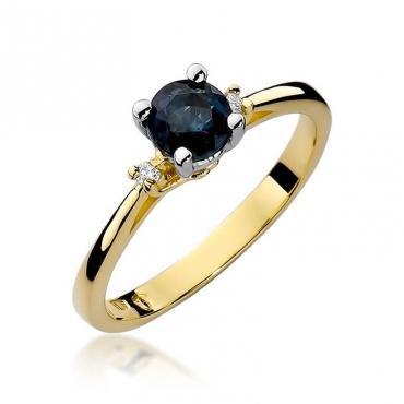 Złoty pierścionek z diamentem EY-17 szafir