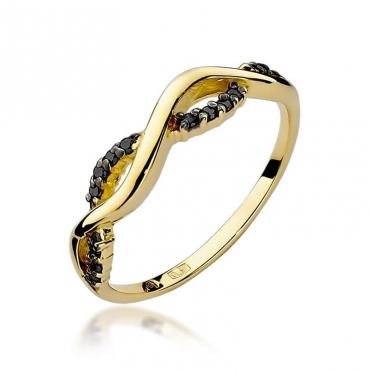 Złoty pierścionek z diamentem EY-96 czarne brylanty
