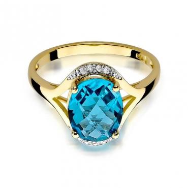 Złoty pierścionek z diamentem EY-150 topaz