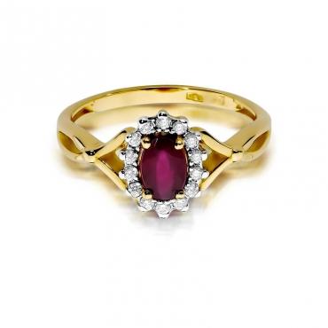 Złoty pierścionek z diamentem EY-182 rubin