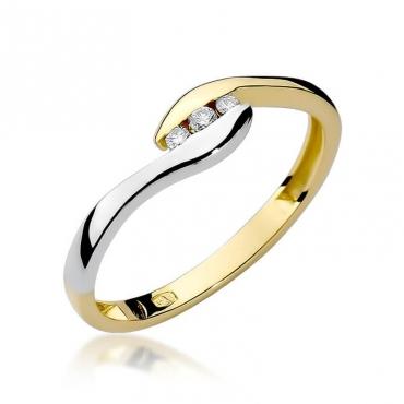 Złoty pierścionek z diamentem EY-205 0,05ct