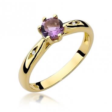 Złoty pierścionek z diamentem EY-74 ametyst