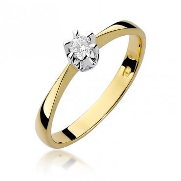 Złoty pierścionek z diamentem EY-111 0,10ct