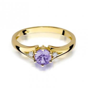 Złoty pierścionek z diamentem EY-76 ametyst