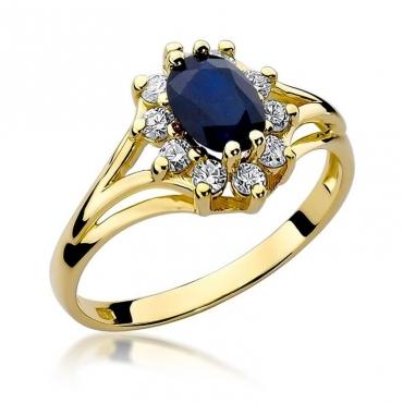 Złoty pierścionek z diamentem EY-37 szafir