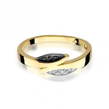 Złoty pierścionek z diamentem EY-107 czarne brylanty