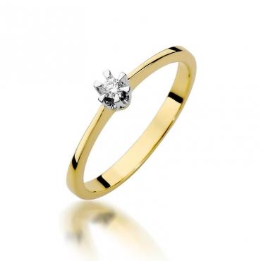 Złoty pierścionek z diamentem EY-111 0,04ct