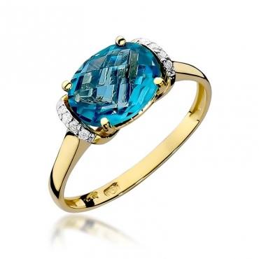 Złoty pierścionek z diamentem EY-148 topaz
