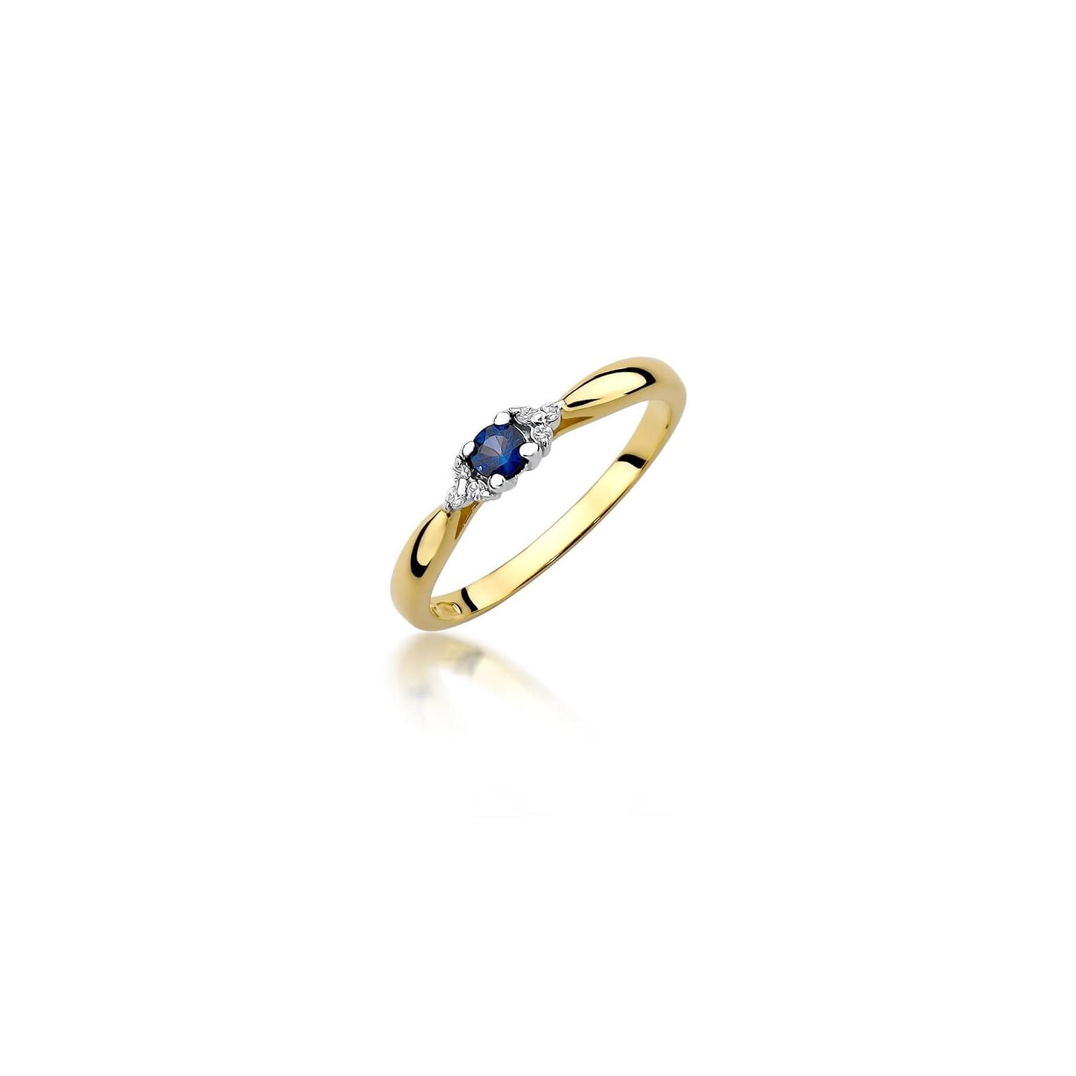 Złoty pierścionek z diamentem EY-428 szafir