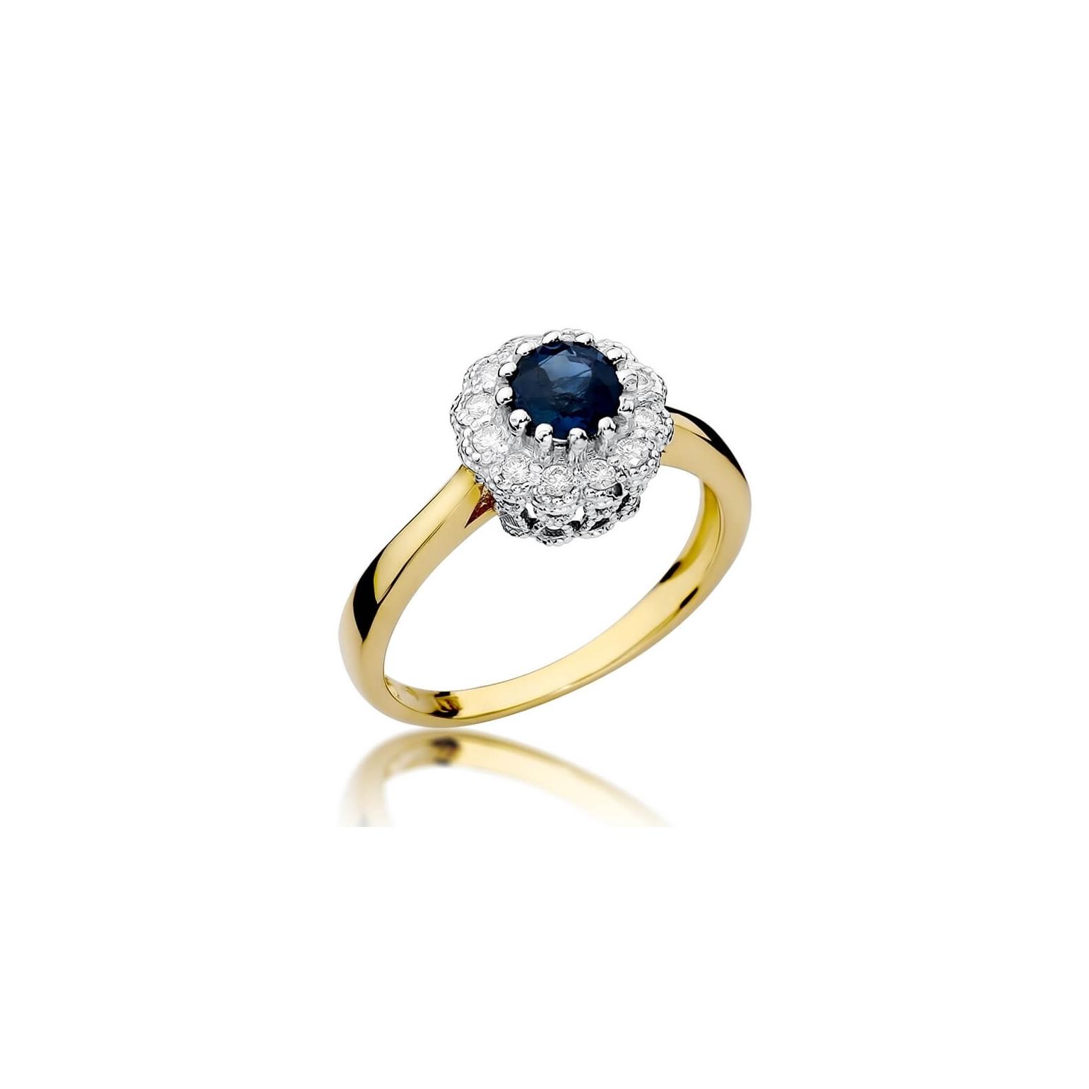 Złoty pierścionek z diamentem EY-284 szafir