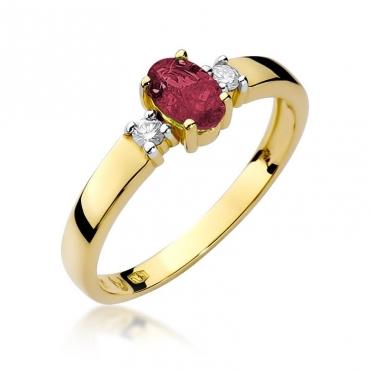 Złoty pierścionek z diamentem EY-264 rubin
