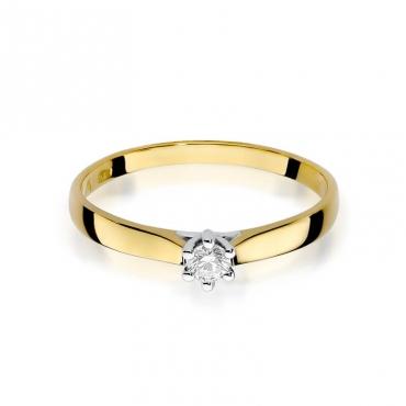 Złoty pierścionek z diamentem EY-222 0,08ct