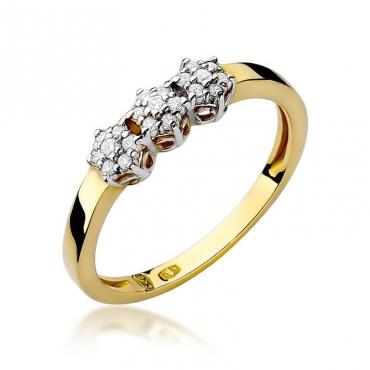 Złoty pierścionek z diamentem EY-104 0,12ct