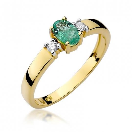 Złoty pierścionek z diamentem EY-264 szmaragd