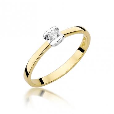 Złoty pierścionek z diamentem EY-333 0,09ct