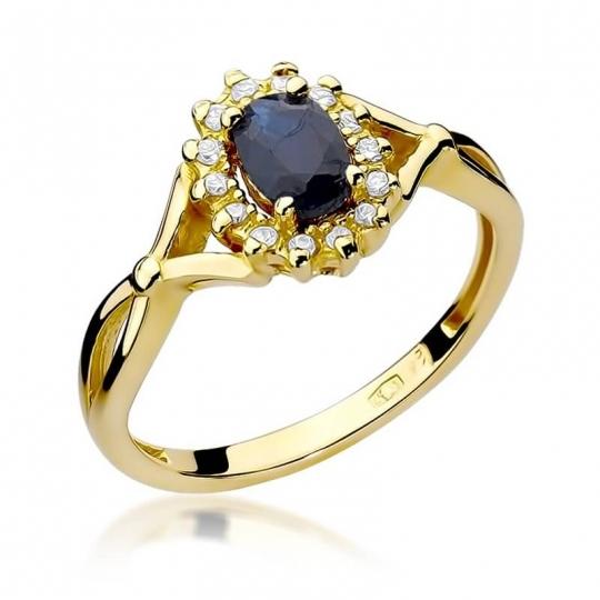 Złoty pierścionek z diamentem EY-182 szafir