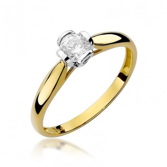 Złoty pierścionek z diamentem EY-86 0,30ct