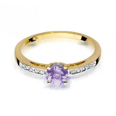 Złoty pierścionek z diamentem EY-66 ametyst