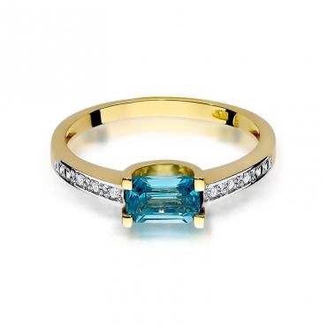 Złoty pierścionek z diamentem EY-105 topaz
